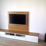 Stolik RTV - dąb + biały